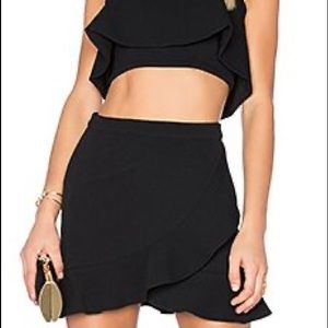 asymmetrical ruffle skirt and crop top